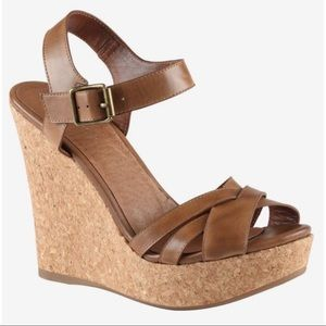 Aldo Toomer Wedge heel leather strap sandals 8.5